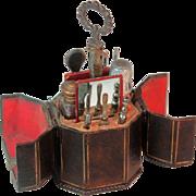 Octagonal LADIES COMPANION NECESSAIRE lined w/ Grosgrain holding 12 tools; Original ANTIQUE c1800's