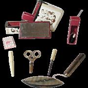 10pc Ladies leather ETUI Sewing COMPANION BOX c1800 Original Antique