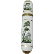 19th Century Hand Painted Glass NEEDLE CASE; made in Germany