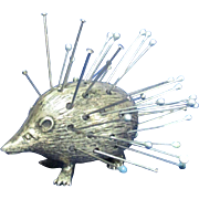 sterling Silver HEDGEHOG or PORCUPINE pin cushion; Original HALLMARKED Antique c1905 by Saunders & Shepherd