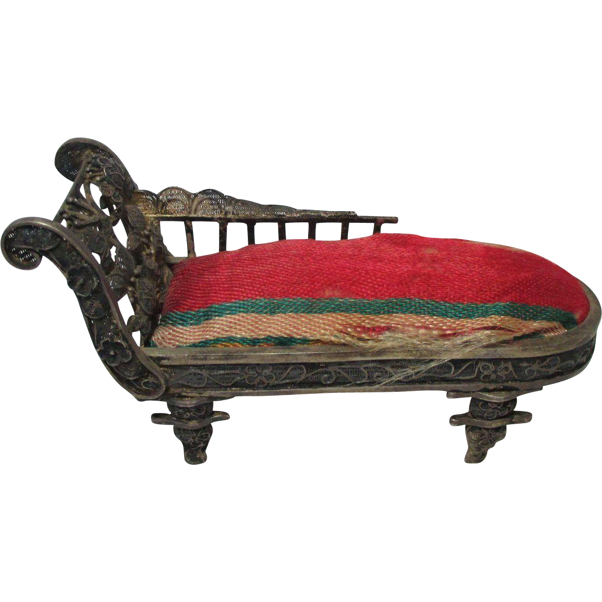 Superb img of Pin Cushion shaped as a FAINTING COUCH or SETTEE; Antique c1800's from  with #A42732 color and 1229x1229 pixels