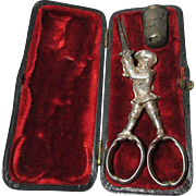 RARE Antique  Gilded Silver Sewing box of a Military Man  Scissors & Thimble set; Original c1700s