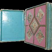 ITALIAN Souvenir Paper Mache Trinket, SEWING GAMES BOX & MOP tokens; Antique c1850's