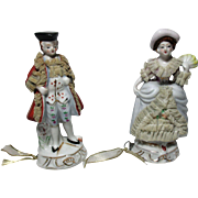 A Pair,COLONIAL Man & Woman Porcelain TAPE MEASURES with lace  detail ;  Antique c1900