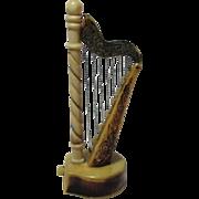 Musical HARP TAPE MEASURE; Carved Tagua Nut Vegetable, Original Antique c1890