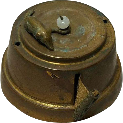 Antique Metal Wind-up TAPE MEASURE with a MOUSE running in a circle, c1890's