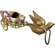 PALAIS ROYAL  Mother-of-Pearl & Brass EGG THIMBLE HOLDER CARRIAGE being pulled by a DOVE; Antique c1860's