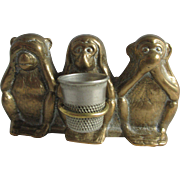 See no Evil- Hear no Evil- Speak no Evil MONKEY figural THIMBLE HOLDER; Antique Brass c1800's
