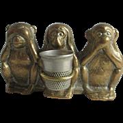 See no Evil- Hear no Evil- Speak no Evil MONKEY figural THIMBLE HOLDER; Antique Brass c1800's