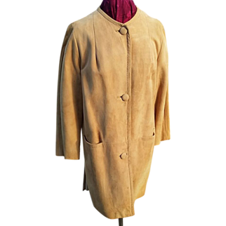 Mid Century Modern 1960's Genuine Suede Vicuna-Colored Coat!