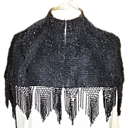 Rare Antique Victorian Late 19th Century Beaded Caplet with Overall Beading Including Beaded Fringe