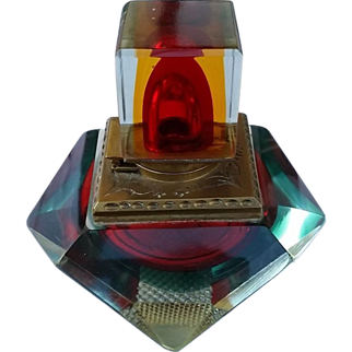 Exquisite Multi-Colored Glass Prism Ink Well Late 19th Century Great Gift!