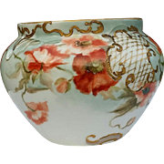 Limoges,Delinieres & Cie,France Jardiniere Antique 19th Century 1896 Artist signed Poppies on Aqua