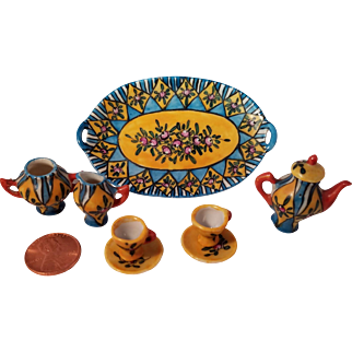 Faience by G. Fourmaintraux Museum Quality Rare Miniature Tea Set Porcelain for Two, Signed