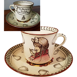 "Rare Royal Doulton Cup and Saucer ""Tea Time Sayings"" in Magenta, Produced in Very Early Part of the 1900s beginning c.1902"