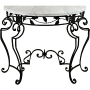Vintage Black Metal and Marble Demilune Console Table