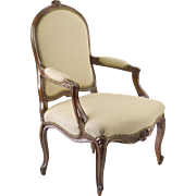 19th c. French Chair, Louis XV Style, with New Linen