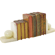 Stone Bookends with Decorative Antique Books