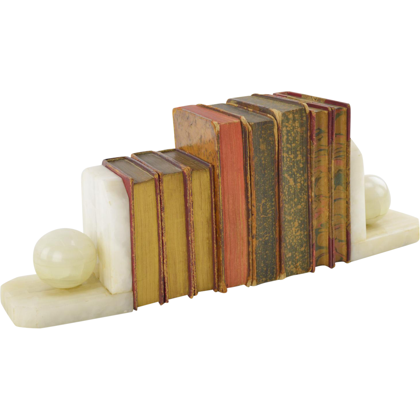 Stone Bookends With Decorative Antique Books Sold On Ruby Lane