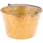 Antique Brass Bucket with Iron Handle