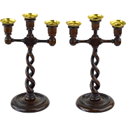 English Oak Open Twist Candelabra, about 1870