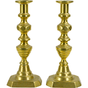 English Brass Candlesticks 19th c. Beehive and Diamond