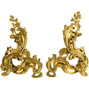 French Andirons - Chenets, Curvy Rococo Brass