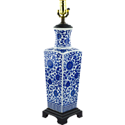 Blue and White Chinoiserie Lamp, Vase Form