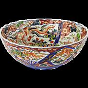 "Large Japanese Imari Bowl 13"" c. 1900 Polychrome"