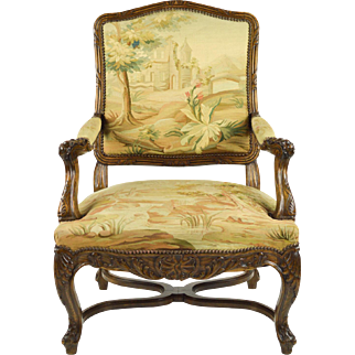 French Carved Chair with Aubusson Tapestry, 19th C.