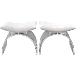 Pair of Clear Lucite Arc Shaped Benches - 1960's