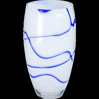 Art Glass Vase - Modern Blue and White