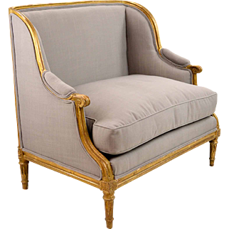 French Louis XVI Style Chair, 19th c. Marquise Form Wide Bergere