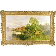 English 19thc Landscape by John Horace Hooper - Oil on Canvas