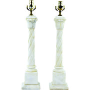 Vintage Alabaster Marble Column Lamps, Pair - New Wiring