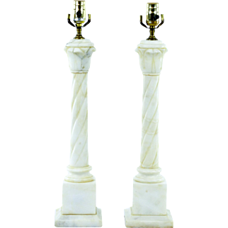 Vintage Alabaster Marble Column Lamps, Pair - New Wiring