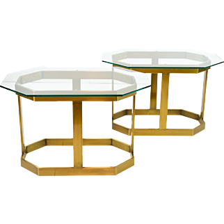 Pair Brass and Glass Side Tables 1970s, Style of Milo Baughman
