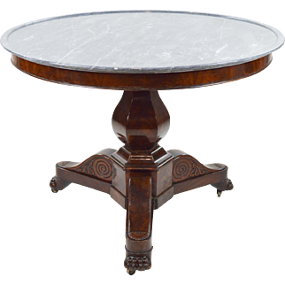 French Center Table, Gueridon, 19th c. Marble and Mahogany