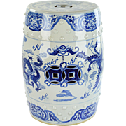 Blue and White Chinoiserie Garden Seat - Porcelain