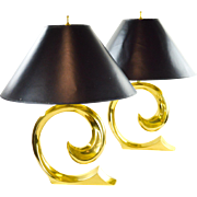 Pierre Cardin Brass Wave Lamps - A Pair