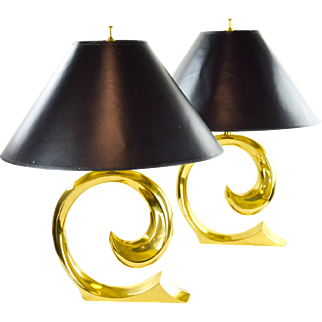 Pierre Cardin Brass Wave Lamps - A Pair