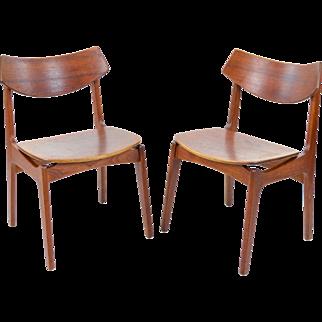 Pair Vintage Teak Danish Side Chairs - Erik Buck for Funder-Schmidt & Madsen