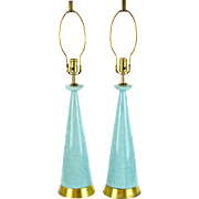 Pair Mid-Century Modern Lamps - Turquoise with New Wiring
