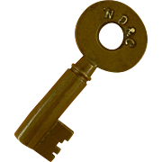 ND & C Newburgh Dutchess & Connecticut Brass Hollow barrel Key