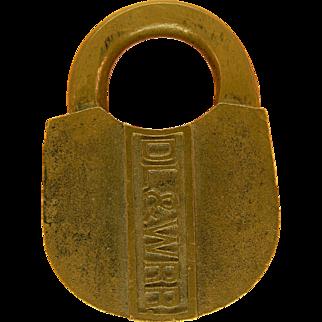 DL & W RR Delaware Lackawanna & Western Railroad Cast Brass Signal Lock