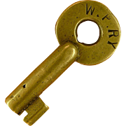 WP RY Western Pacific Railway, Railroad Brass A & W Switch Key Feather River Route