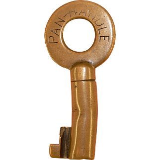 PAN-HANDLE, Pittsburgh Cincinnati Chicago & St Louis Railroad Brass Switch key