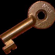 N & W Norfolk & Western Railroad Hollow Barrel Brass Key, Adlake