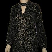 Vtg 1960's Voided Black Velvet Illusion Jumpsuit w Palazzo Pants & Rhinestones