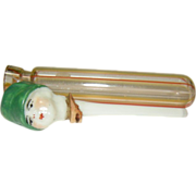 Vintage 20's German Striped Perfume Bottle w Porcelain Cloche Hat Woman Stopper